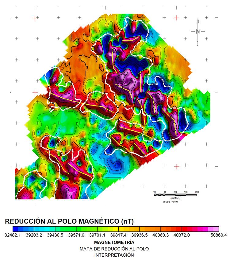Mapa de reducción al polo interpretado, las líneas blancas muestran los límites magnéticos y las líneas amarillas lineamientos magnéticos.