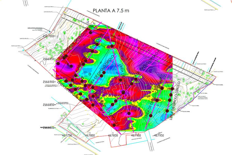 Figura 4. Planta de isoresistividad aparente a 7.5 m de profundidad del ESTUDIO GEOFÍSICO DE RESISTIVIDAD ELÉCTRICA EN LA MODALIDAD DIPOLO-DIPOLO, PARA DETERMINAR LA ESTRATIGRAFÍA Y PRESENCIA DE CAVIDADES, EN EL PREDIO UBICADO EN LA COLONIA BALCONES DE SANTA ANA, MUNICIPIO DE NICOLÁS ROMERO, ESTADO DE MÉXICO